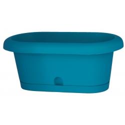 """Caja de balcón """"Lotos"""" con bandeja - 40 cm - turquesa -"""