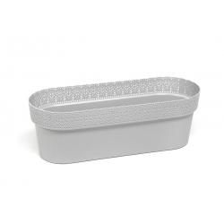 """Caja de balcón """"Bella"""" con soporte - 50 cm - gris claro -"""