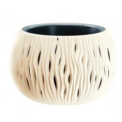 """Sandy Bowl"" round plant pot with an insert - 37 cm - creamy-white"