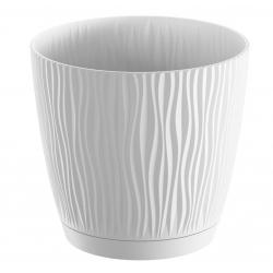 "Pot tanaman bulat ""Sandy P"" dengan piring - 11 cm - putih -"