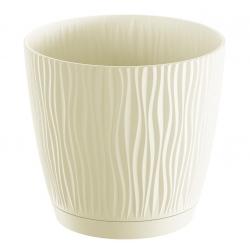 "Pot tanaman bulat ""Sandy P"" dengan piring - 11 cm - putih berkrim -"