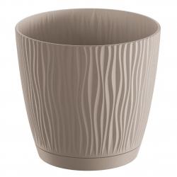 """Pot tanaman bulat """"Sandy P"""" dengan piring - 11 cm - coklat mocha -"""