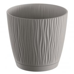 """Pot tanaman bulat """"Sandy P"""" dengan piring - 11 cm - kelabu batu -"""