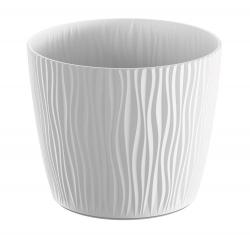 """""""Piesočné"""" okrúhle kvetináče - 11 cm - biele -"""