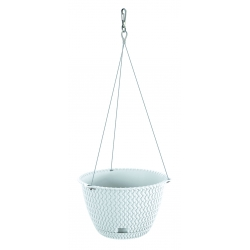 """""""Splofy Round W"""" round hanging plant pot with a saucer and a stainless steel chain - 27 cm - white"""
