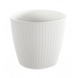 """""""Wheaty"""" round plant pot - 26 cm - white"""