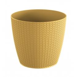"Pot tanaman bulat ""Wheaty"" - 13 cm - Kuning India -"