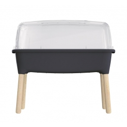 Кућни врт на дрвеним ногама са поклопцем - мини стакленик Респана Плантер у унутрашњости - 77 цм - антрацит сива -