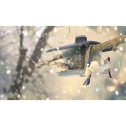 Lindude laud / söötmisalus Birdyfeed Double - joonele või oksale riputamiseks - antratsiithall -