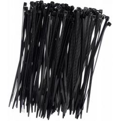 Kábelkötegek, nyakkendők, cipzáras kötések - 300 x 4,8 mm - fekete - 100 darab -