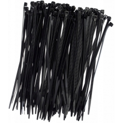 Kablo bağları, bağları, fermuarlı bağlar - 200 x 2.5 mm - siyah - 100 parça -
