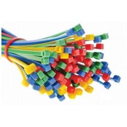 Kábelkötegelők, nyakkendők, cipzáras kötések - 300 x 4,8 mm - piros - 100 darab -
