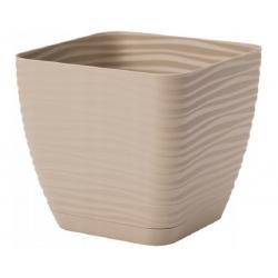 """Sahara petit"" square pot with a saucer - 11 cm - cafe latte"