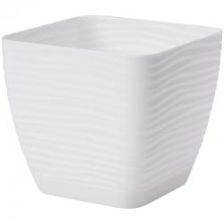 """""""Sahara petit"""" square pot with a saucer - 11 cm - white"""