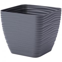 """Nồi vuông """"Sahara petit"""" với một chiếc đĩa - 11 cm - màu xám antraxit -"""