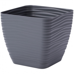 "Bir daire ile ""Sahara petit"" kare pot - 11 cm - antrasit-gri -"