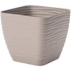 """Sahara petit"" square pot with a saucer - 11 cm - grey-beige (taupe)"