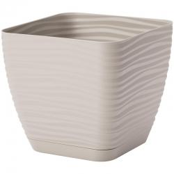 """""""Sahara petit"""" square pot with a saucer - 11 cm - light-grey"""