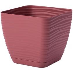"""""""Sahara petit"""" square pot with a saucer - 11 cm - marsala"""