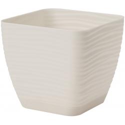 """""""Sahara petit"""" square pot with a saucer - 11 cm - creamy-white"""