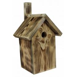 Vogelhaus für Meisen, Spatzen und Kleiber - verkohltes Holz -