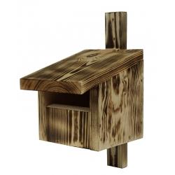 Vogelhaus für Redstarts, Amseln, Rotkehlchen und Turmfalken - verkohltes Holz -