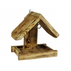 Зидна хранилица за птице - угљено дрво -
