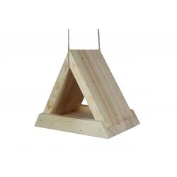 Троугласта хранилица за птице - сирово дрво -