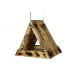 Троугласта хранилица за птице - угљено дрво -