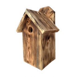 Wall mounted birdhouse for tits, sparrows and nuthatches - charred wood