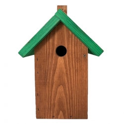 Кућа за птице за сисе, врапце и орахе - смеђа са зеленим кровом -