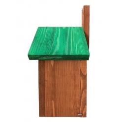Шпаківня для синиць, горобців і горіхів - коричнева з зеленим дахом -