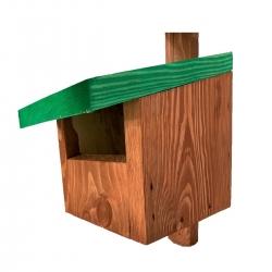 Rumah burung untuk redstarts, blackbirds, robins dan kestrels - coklat dengan bumbung hijau -