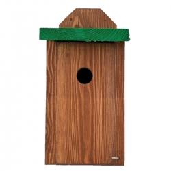 Кућа за птице за сисе, врапце на дрвећу и муваре - поставља се на зидове - браон са зеленим кровом -
