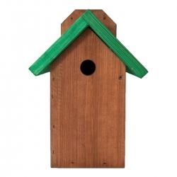 Sangkar burung untuk burung, burung pipit dan nuthatch yang terpasang di dinding - berwarna coklat dengan atap hijau -