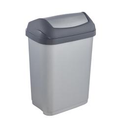 Tempat sampah Swantje abu-abu keperakan 10 liter dengan tutup berputar -