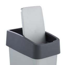 Tempat sampah Magne abu-abu keperakan 10 liter dengan tutup tekan-untuk-buka -