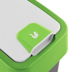 Tempat sampah Magne hijau 10 liter dengan tutup tekan-untuk-membuka -