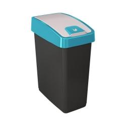 Tong sampah Magne biru 10 liter dengan tutup tekan-untuk-membuka -