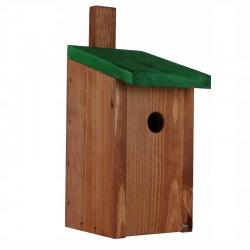 Шпаківня для синиць, горобців дерев та мухолов - коричневий із зеленим дахом -