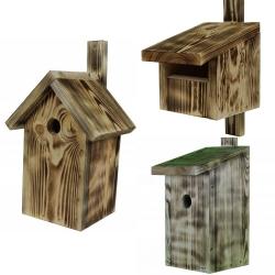 Birdhouses - set of three various types - charred wood