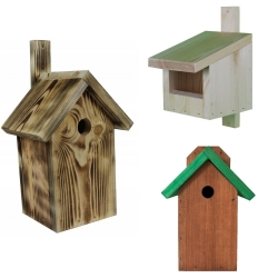 Set of three various birdhouses - brown with green roof, raw wood and charred wood