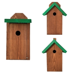 Set of three birdhouses - brown with green roofs