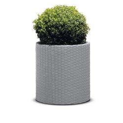 Большой круглый горшок для растений - ø 43,7 см - Цилиндрическая сеялка - серебристо-серая -