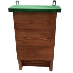Кутија за шишмиш - смеђа са зеленим кровом -