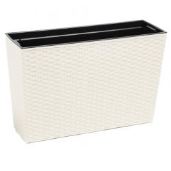 """Ziedu kaste """"Werbena"""" / stādītājs - 19 x 56 cm - rotangpalma krēmbaltā krāsā -"""