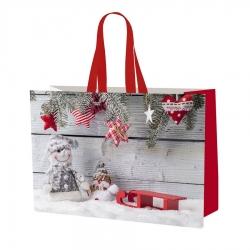Голяма чанта, чанта с коледен мотив - 55 х 40 х 30 см - Снежен човек -