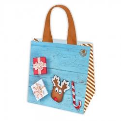 Jõulumotiiviga kott - 34 x 34 x 22 cm - Kingitused ja piparkoogid -