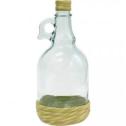 Gallone palack szalmából készült kosárban, elfordítható kupakkal - 1 liter -