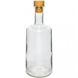 Korgiga Rosa pudel - valge - 250 ml -